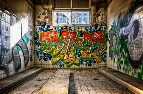 grafitti en metro o vagon de tren