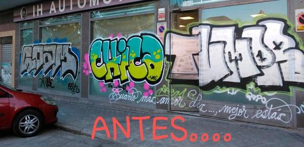 eliminación de grafittis en cristaleras